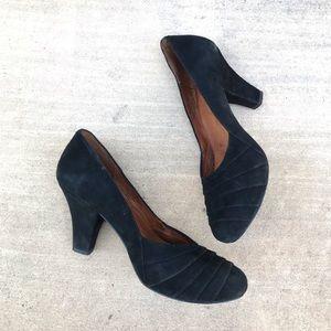 Gentle Souls black suede heels